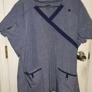 1 set of light navy blue scrubs